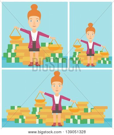Young business woman holding scales in hands on a blue background with stacks of coins. Vector flat design illustration. Square, horizontal, vertical layouts.