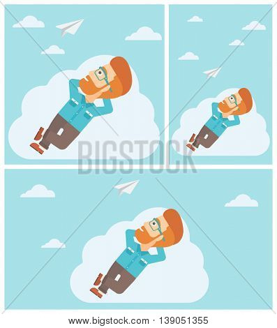 Young hipster businessman with the beard lying on a cloud and looking at flying paper plane. Businessman relaxing on a cloud. Vector flat design illustration. Square, horizontal, vertical layouts.