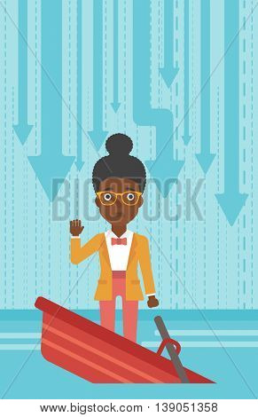 An african-american business woman standing in a sinking boat and asking for help. Concept of business bankruptcy. Vector flat design illustration. Vertical layout.