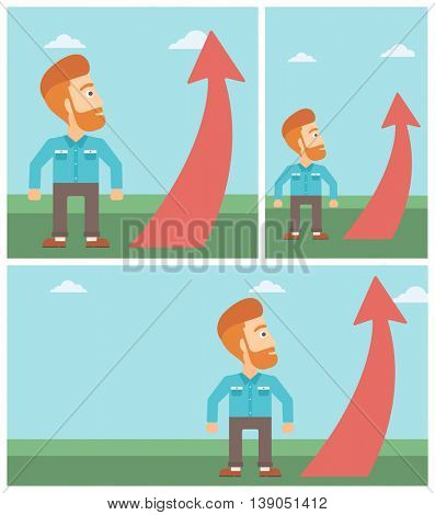 A hipster businessman with the beard looking at a red arrow going up. Successful business concept. Vector flat design illustration. Square, horizontal, vertical layouts.