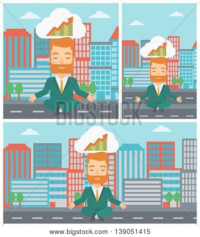 Peaceful hipster businessman with eyes closed doing yoga and meditating in lotus pose outdoor and thinking about the growth graph.Vector flat design illustration. Square, horizontal, vertical layouts.