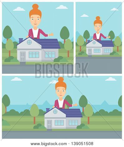 Woman standing behind the house and showing thumb up. Female real estate agent offering the house. Young woman giving thumbs up. Vector flat design Illustration. Square, horizontal, vertical layouts.