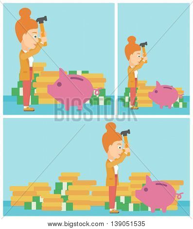 Young business woman breaking piggy bank on a blue background with stacks of coins. Concept of business bankruptcy. Vector flat design illustration. Square, horizontal, vertical layouts.