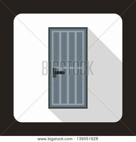 Grey steel door icon in flat style on a white background