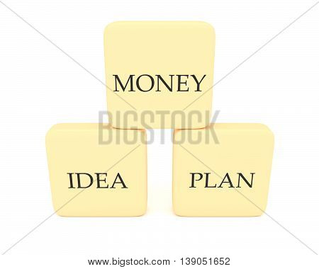 Pyramid with word blocks money idea and plan 3d illustration