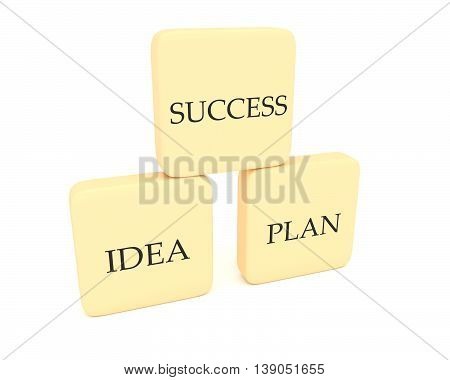 Pyramid with word blocks success idea and plan 3d illustration
