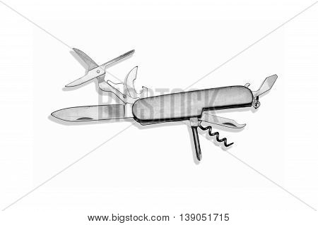 Top view of multifunctional stainless steel penknife isolated on white background.