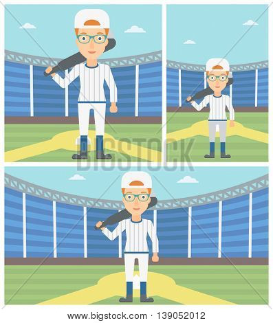Young female baseball player standing on a baseball stadium. Female professional baseball player holding a bat on baseball field. Vector flat design illustration. Square, horizontal, vertical layouts.