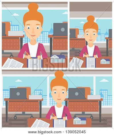 Female real estate agent signing a contract. Real estate agent sitting at workplace in office with a house model on the table. Vector flat design Illustration. Square, horizontal, vertical layouts.