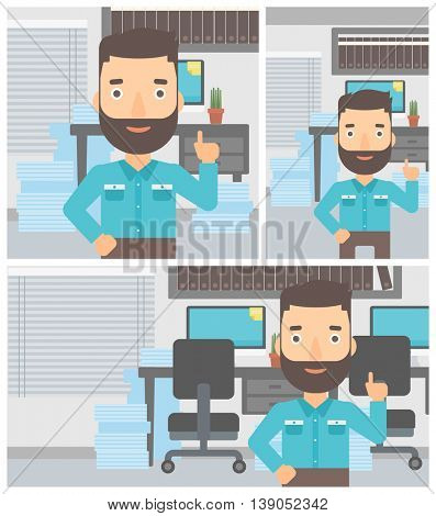 Hipster businessman with the beard standing in the office and pointing up with his forefinger. Business idea concept. Vector flat design illustration. Square, horizontal, vertical layouts.