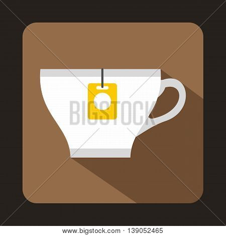 White cup with teabag icon in flat style on a coffee background