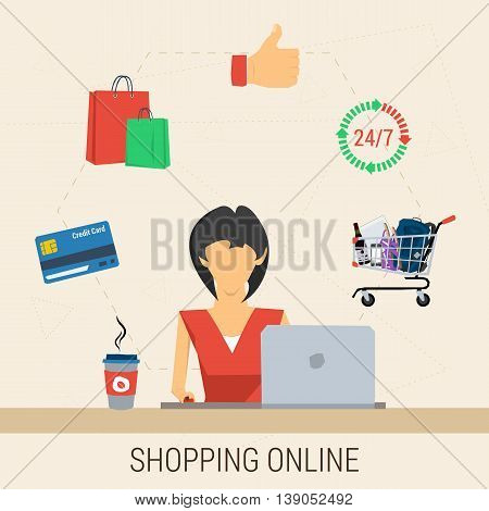 Vector concept shopping online. Woman with laptop shopping online. Cup of coffee, cart contents, credit card, shopping bags and like hand in flat style. Web infographics