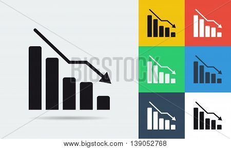 Vector colored and monochrome finance crisis icon in flat style. Use for business and financial topics