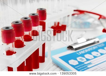 Blood samples, close up