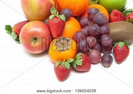 fresh juicy fruits and berries close-up on a white background. horizontal pictures - top view.