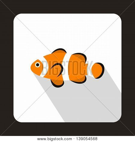 Cute clown fish icon in flat style on a white background
