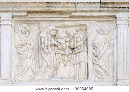 BOLOGNA, ITALY - JUNE 04: The Presentation in the Temple central door of San Petronio Basilica in Bologna, Italy, on June 04, 2015