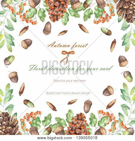 Background, template postcard, frame with the watercolor forest plants (oak acorns, fir cones, rowan tree), hand drawn on a white background, greeting card, decoration postcard or invitation