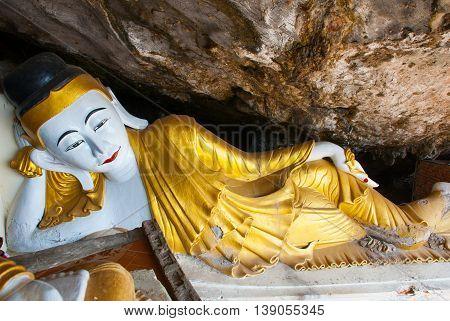 Big Buddha Statue Which Lies, Religious Carving. Hpa-an, Myanmar. Burma.