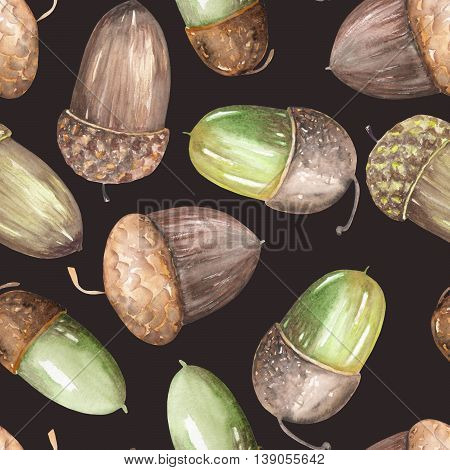 A seamless pattern with a floral ornament of the watercolor forest oak acorns on a dark background