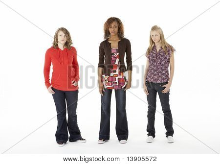 Full Length Portrait Of Three Teenage Girls