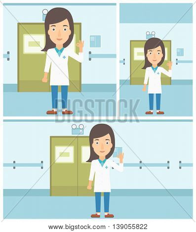 Female doctor in medical gown showing ok sign in the hospital corridor. Vector flat design Illustration. Square, horizontal, vertical layouts.