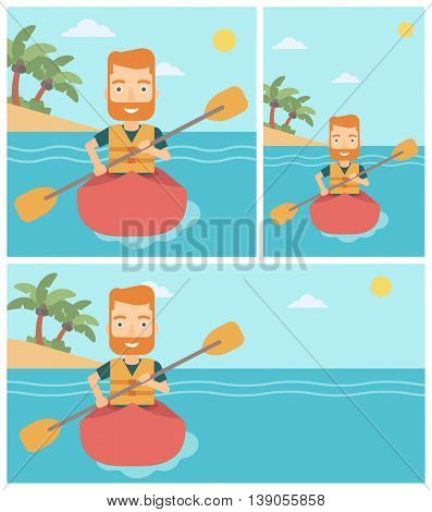 Sportsman riding in a kayak in the sea. Young man traveling by kayak. Male kayaker paddling. Man paddling a canoe. Vector flat design illustration. Square, horizontal, vertical layouts.