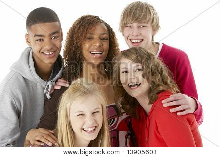 Studio Portrait Of Five Teenage Friends