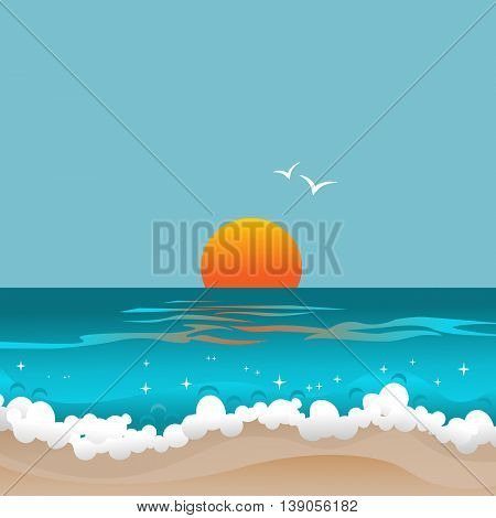 Sunset and ocean. Abstract seascape. Retro card with sun below the horizon of azure waves. Copy space. Vector illustration.