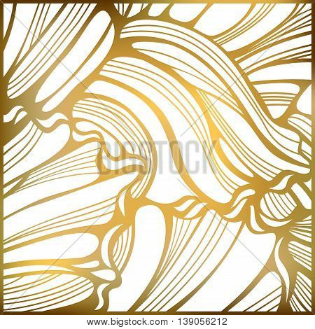 Golden wavy decorative background. Abstract wavy striped pattern. Gold ornate background. Vector illustration.