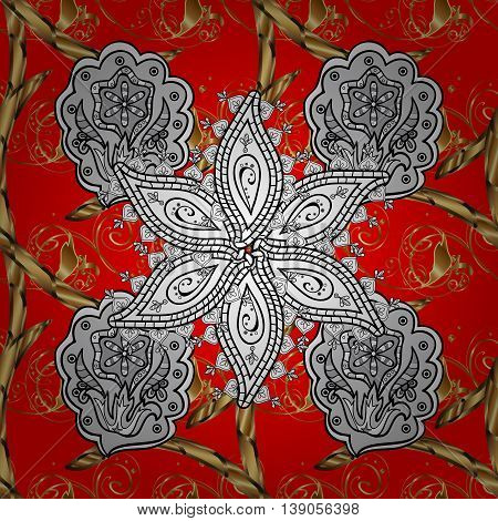 Seamless vintage pattern on red background with golden elements.