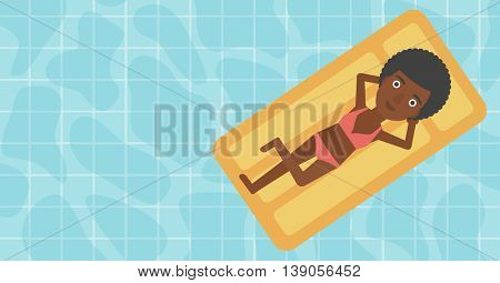 An african-american woman relaxing on the air bed in the swimming pool. An african-american woman enjoying her vacation. Vector flat design illustration. Horizontal layout.