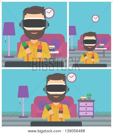 Young man wearing virtual reality headset and holding motion controllers in hands. Hipster man playing video games in apartment. Vector flat design illustration. Square, horizontal, vertical layouts.