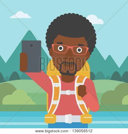 An african-american man making selfie on the background of mountains. Man with backpack taking photo with cellphone. Vector flat design illustration. Square layout.