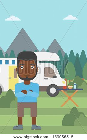 An african-american man standing in front of motor home. Young man with arms crossed enjoying vacation in camper van. Vector flat design illustration. Vertical layout.
