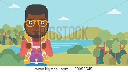 An african-american man walking in the mountains. Male traveler with backpack and binoculars. Backpacker hiking in mountains. Vector flat design illustration. Horizontal layout.