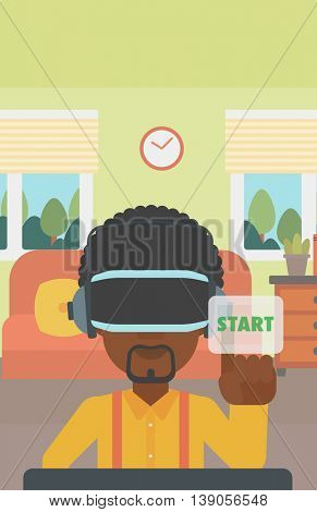 An african-american man wearing virtual reality headset and playing video game. Man in virtual reality headset pushing virtual button start. Vector flat design illustration. Vertical layout.