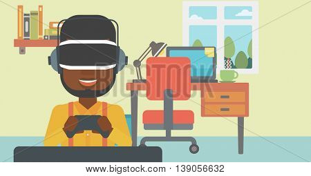 An african-american man wearing a virtual reality headset. Young man playing video game with game controller in hands. Vector flat design illustration. Horizontal layout.
