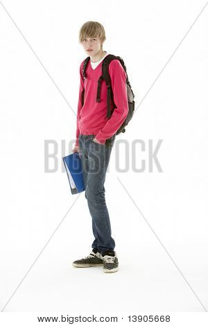 Full Length Studio Portrait Of Male Teenage Student