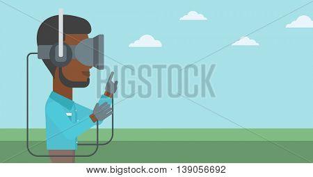 An african-american man wearing a virtual reality headset. Man playing video games outdoor. Man wearing gamer gloves. Vector flat design illustration. Horizontal layout.