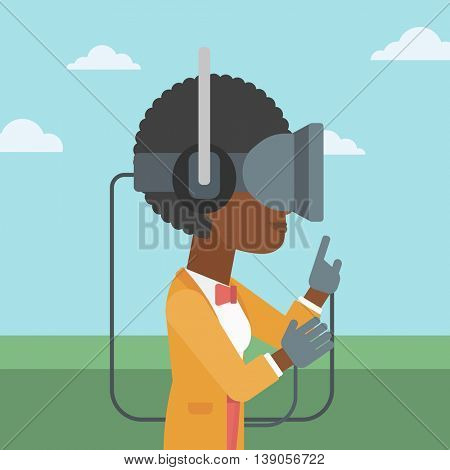 An african-american woman  wearing a virtual reality headset. Woman playing video games outdoor. Woman wearing gamer gloves. Vector flat design illustration. Square layout.
