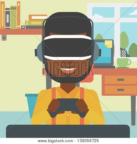 An african-american man wearing a virtual reality headset. Young man playing video game with game controller in hands. Vector flat design illustration. Square layout.