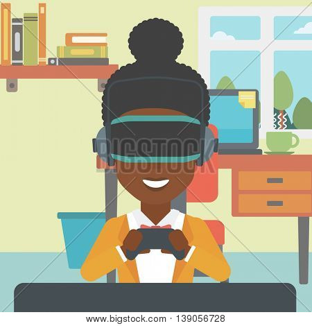 An african-american woman  wearing a virtual reality headset. Smiling woman playing video games with a wireless game controller in hands. Vector flat design illustration. Square layout.
