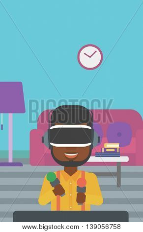 An african-american man wearing virtual reality headset and holding motion controllers in hands. Man playing video games in apartment. Vector flat design illustration. Vertical layout.