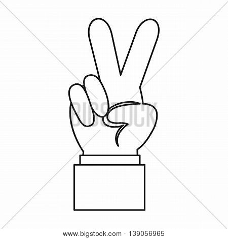 Hand with victory sign icon in outline style isolated vector illustration