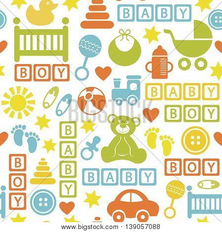 seamless pattern with icons for baby boy - vector illustration, eps