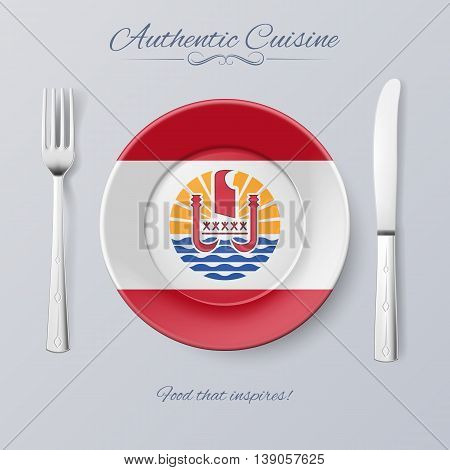 Authentic Cuisine of French Polynesia. Plate with Flag and Cutlery