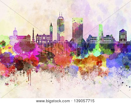 Indianapolis skyline in artistic abstract watercolor background