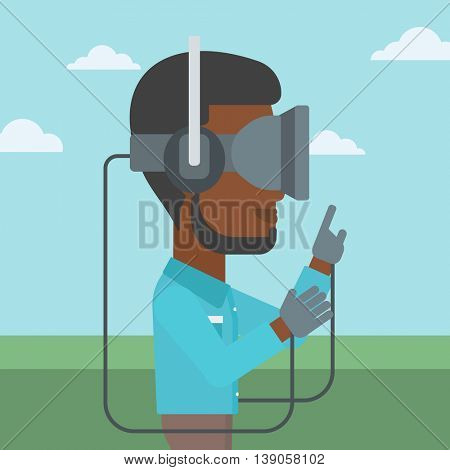 An african-american man wearing a virtual reality headset. Man playing video games outdoor. Man wearing gamer gloves. Vector flat design illustration. Square layout.