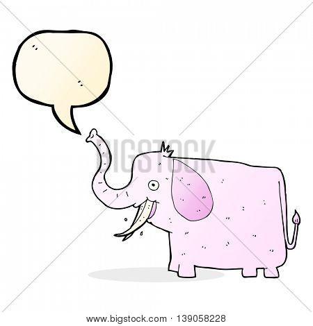 cartoon happy elephant with speech bubble